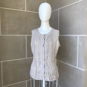 8f21b6af8f4 Lina Tomei Pleated Linen Button Down Tank